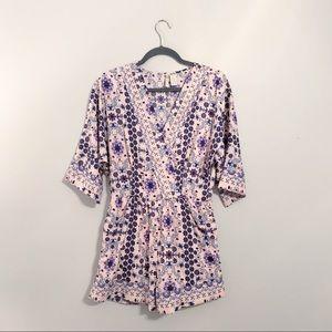 Floral Patterned Kimono Romper